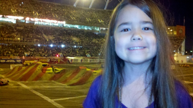 Mia getting reading for the Monster Jam to start!
