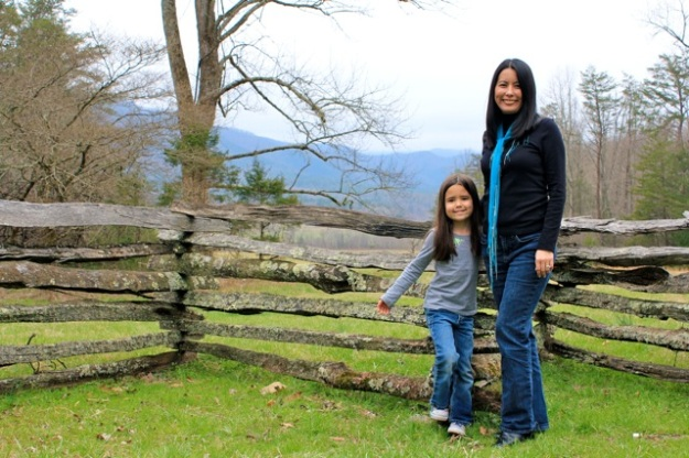 Mia and I at the John Oliver cabin (Cades Cove).
