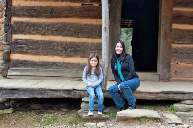 Mia and I sitting on the porch at the John Oliver cabin.