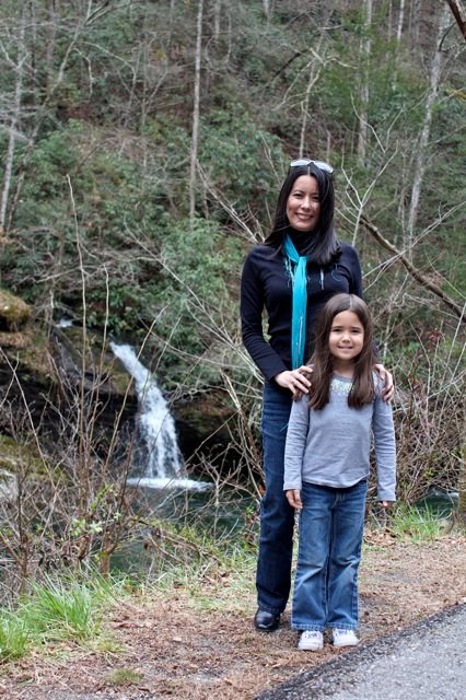 Mia and I in front of a pretty little waterfall on the drive through the Smoky Mountain National Park.