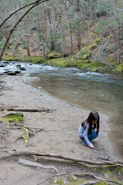 Mia looking at all of the cool rocks at a river on the drive.