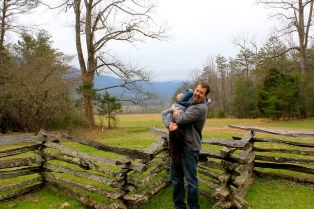 Mia and her daddy having fun at the John Oliver cabin property.