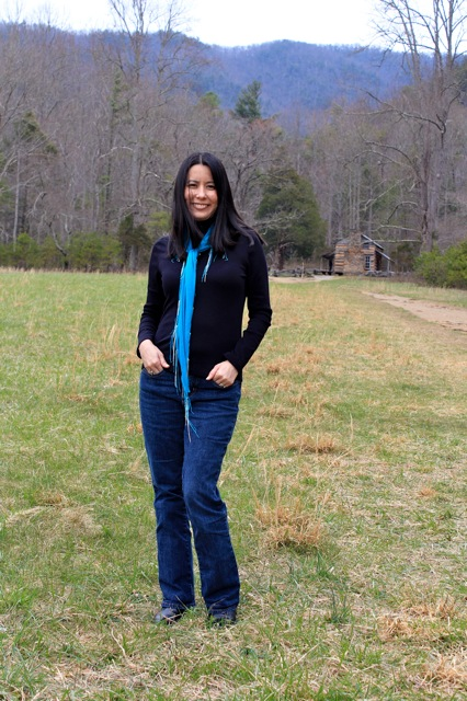 Me in front of the John Oliver cabin.  It was a nice long walk up an unpaved driveway before getting to the cabin.