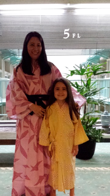 Mia and I getting ready for a hot bath (onsen)!