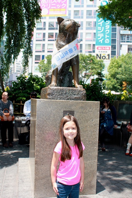 Mia in front of the Hachi statue! The highlight of her trip to Tokyo! at Shibuya Station.