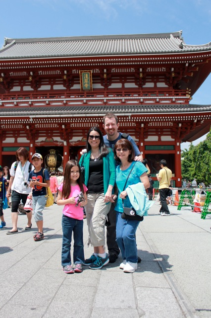 My family in front of the Sensoji Temple in Tokyo.