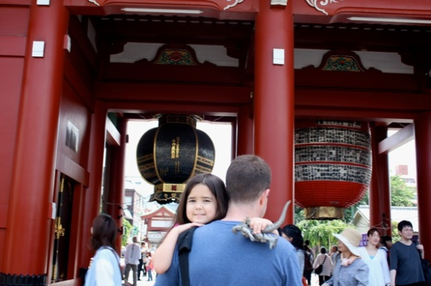 Mia and her daddy at the Sensoji Temple.