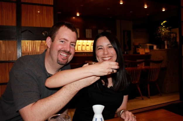 Enjoying some sake! Kampai!