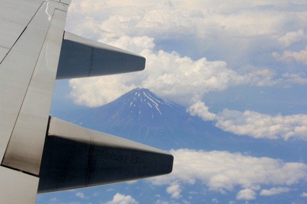 Our view of Mt. Fuji from the plane ride to Okinawa! Wow!!