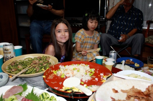 Mia and her cousin enjoying the yummy dinner my Aunt's family prepared for us. It was amazing!!