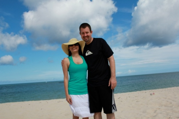 Danny and I at the beach where we stayed.  We are very happy to be back together again! ♥