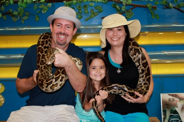 Being brave at the Habu Snake show!  — at Habu Museum Park, Okinawa.