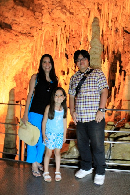 Mia and I with our cousin — at Gyokusendou Caves.