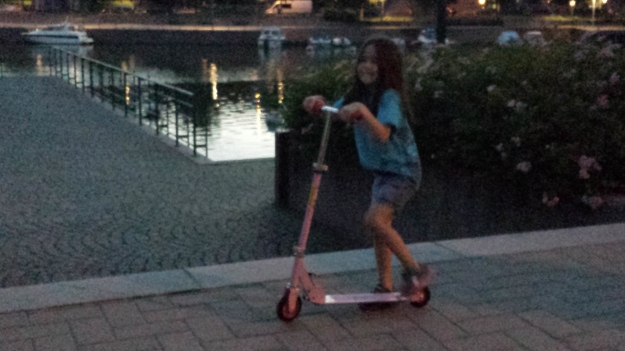 Mia having fun on her new scooter at 3 a.m.  We were wide awake (it was only 8 p.m. Florida time)!
