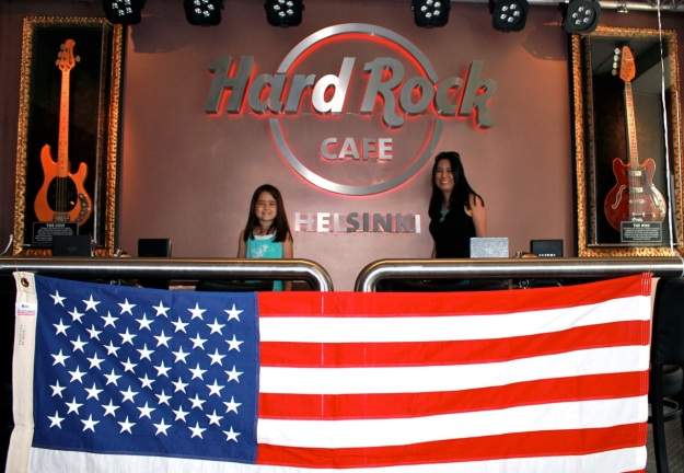 They were celebrating the 4th of July at the Hard Rock Cafe downtown today!