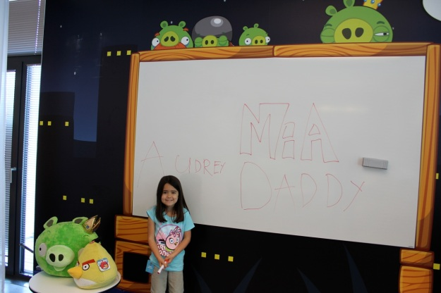 Mia had a lot of fun writing on one of the creative boards.