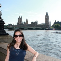 Me in front of the Thames River with Big Ben in the background.