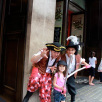 Mia with pirates at Hamleys!
