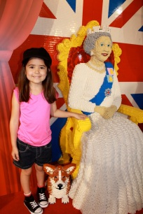 Mia with the Queen and her dog made out of Legos!
