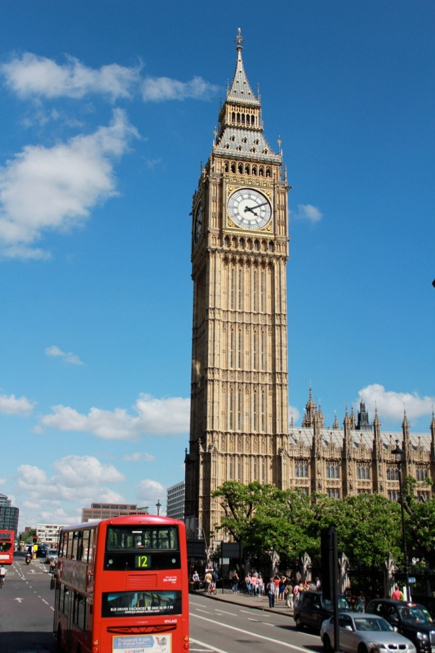One of my favorite photos from our trip: Big Ben and a red double-decker bus which I took while riding on the top of a double-decker bus.