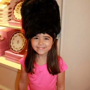 Mia having fun at The Queen's Gift Shop!