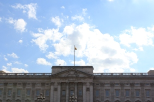 The Royal Standard Flag flying at Buckingham Palace. The Queen was home!