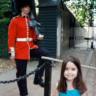 Mia in front of one of The Queen's Guards