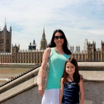 Mia and I in front of the Thames River with Big Ben and The Palace of Westminster in the background.