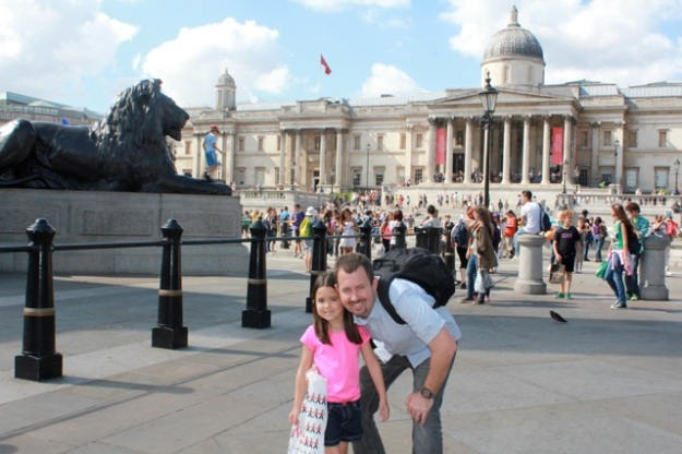 Mia and Danny at Trafalgar Square.