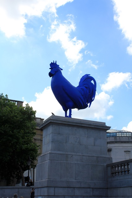 """Hahn/Cock"" sculpture by Katharina Fritsch at Trafalgar Square."