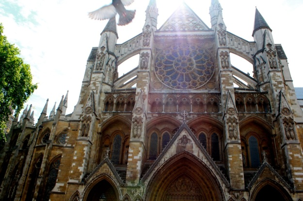 The beautiful entrance to Westminster Abbey.