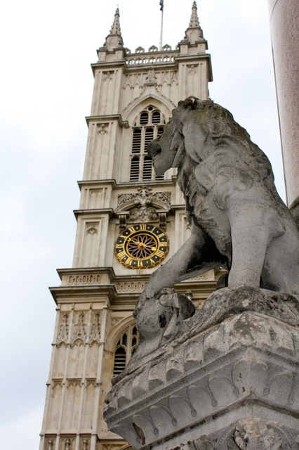 One of the many lion statues in London.