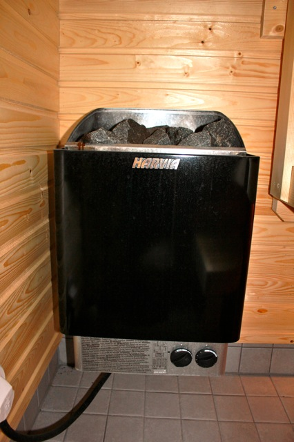 Our sauna heater with the pretty rocks!