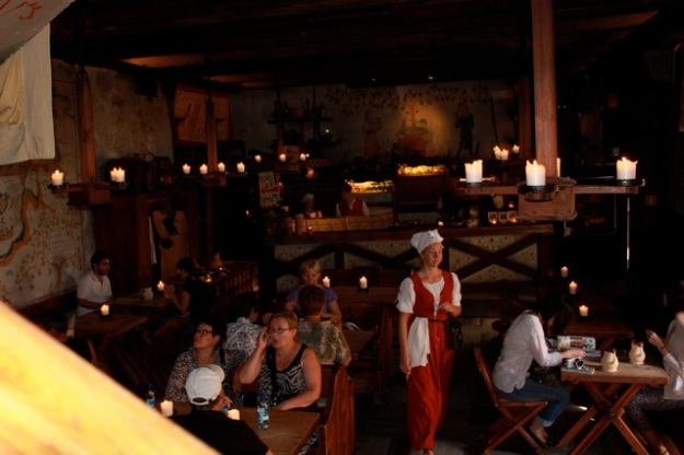 The inside of the Olde Hansa Restaurant.