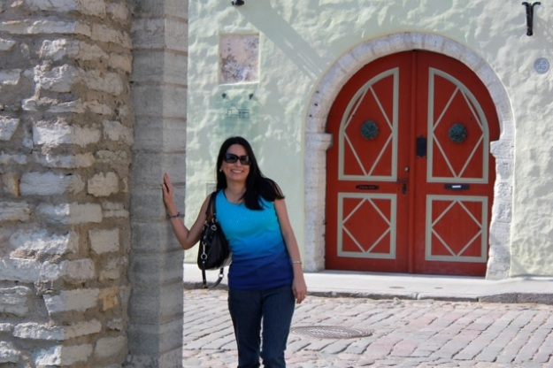 I thought this red door behind me was really beautiful!  There is so much character in all of the buildings in Old Town Tallinn.