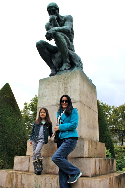 "Mia and I in front of Rodin's ""The Thinker"""