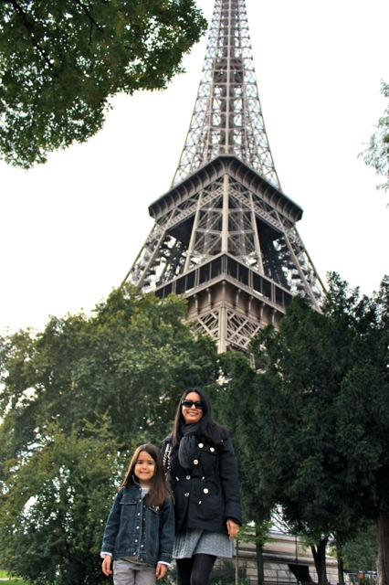 Mia and I in front of the Eiffel Tower.