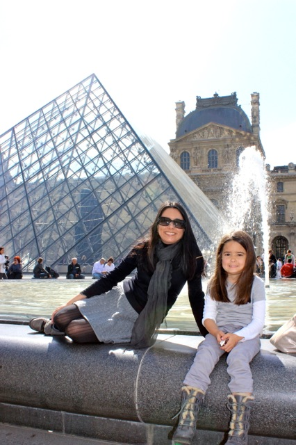 Mia and I taking a nice break at The Musée du Louvre.