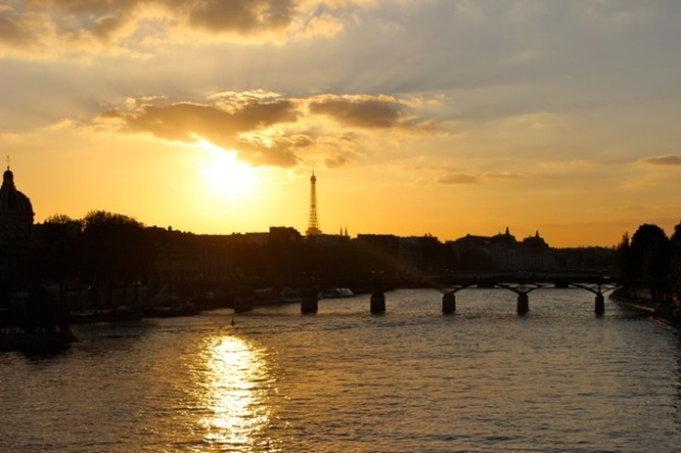 Sunset at the Eiffel Tower.