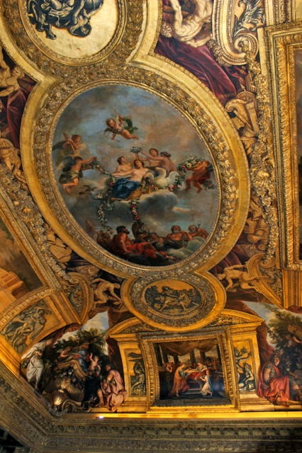 One of the many impressive painted ceilings at Versailles.