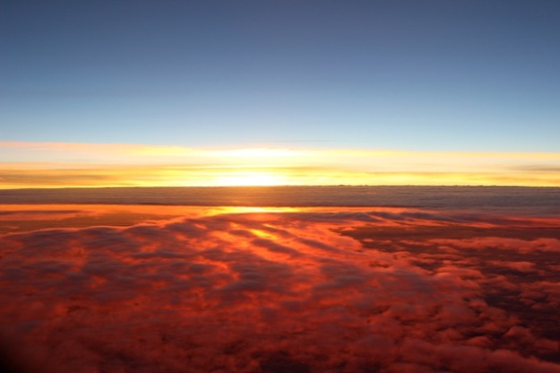 The sunset from the plane as we were leaving Paris.