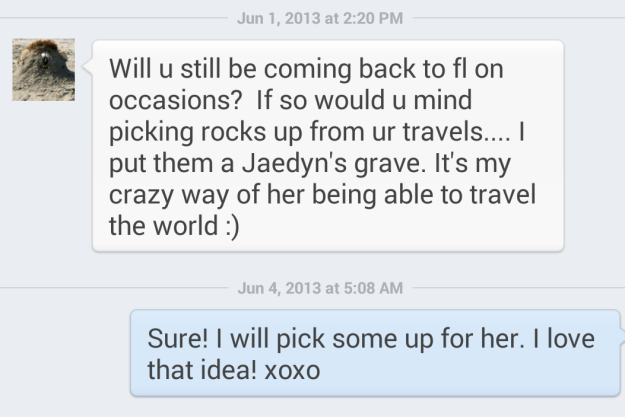 "The email that started ""Travel Rocks for Jaedyn""."