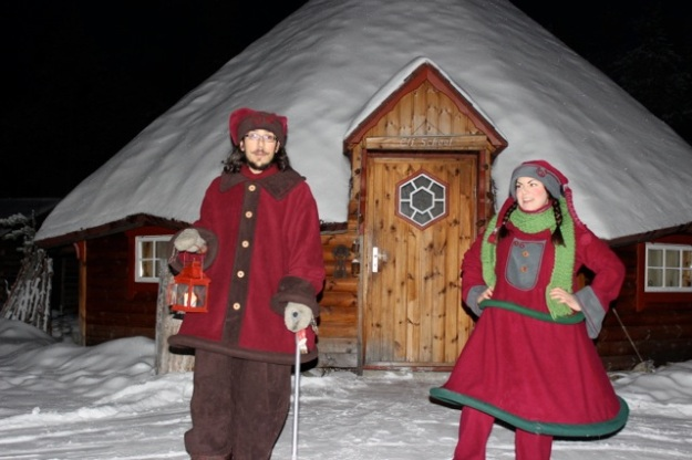 The elves getting ready to take us into their Elf School Hut.