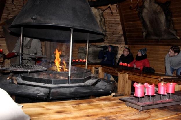 The cozy fire in the Elf School Hut.
