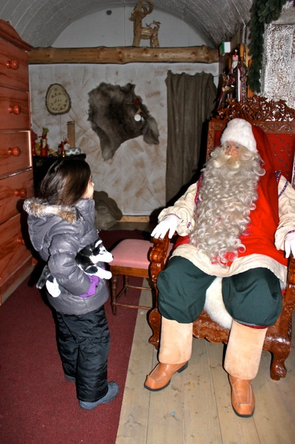 Mia telling Santa what she dreamed of for Christmas this year!