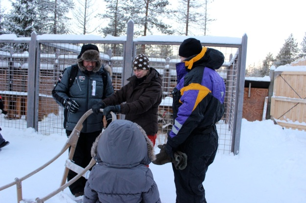 Danny and another dad learning how to drive the sled!
