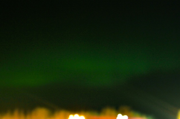 The Northern Lights in the sky right above where we stayed.