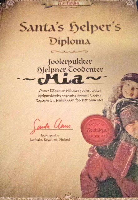 Mia's Diploma after graduating from Elf School.  Each of us received one of our own at the end!