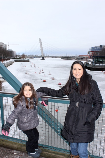 Mia and I on the bridge we cross often... with the frozen sea in the background!