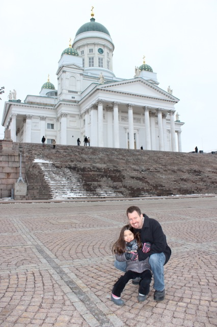 Mia and her daddy in front of the Helsinki Cathedral.